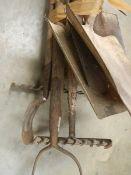 A quantity of garden tools.
