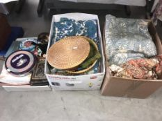 A box of haberdashery with a sewing basket, including a large quantity of buttons, threads,
