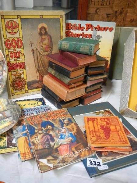 A quantity of Bibles and children's books.