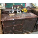 A stained pine Lincolnshire dresser.