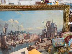 A large gilt framed city scape.