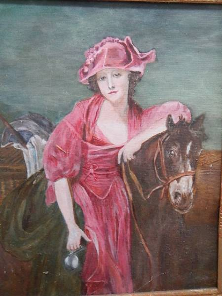 An oil on board study of a lady on a horse. 54 x 64 cm. - Image 4 of 4