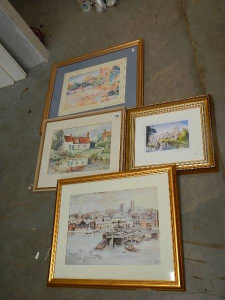 A quantity of gilt framed pictures.