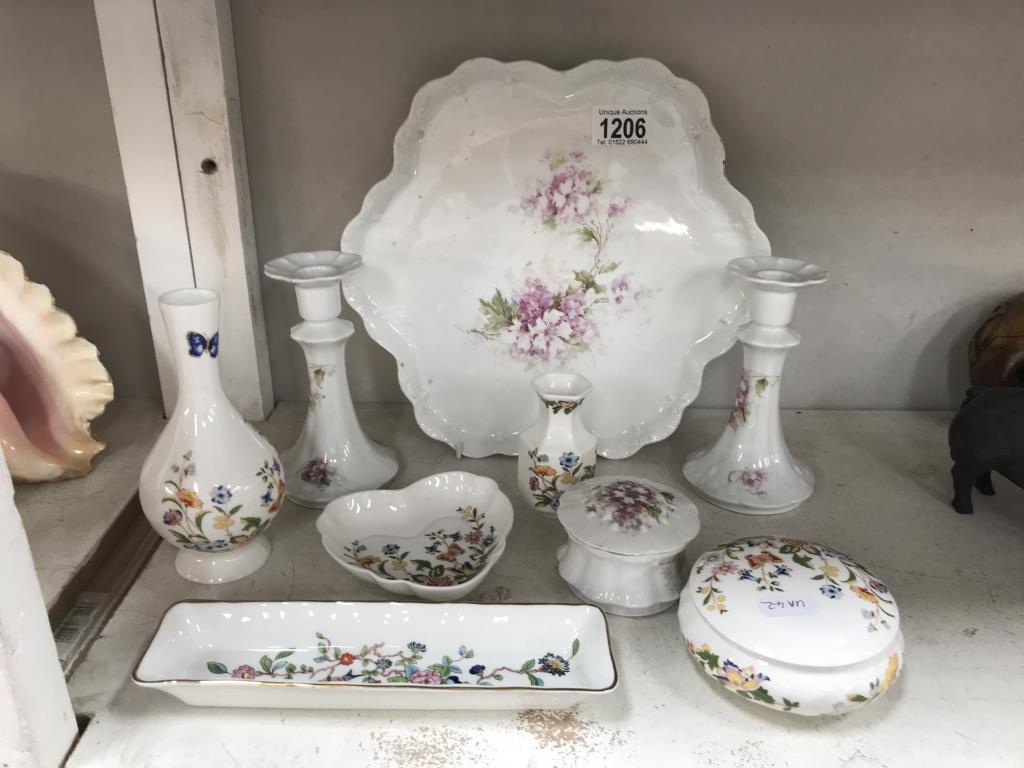 A collection of Aynsley cottage garden ceramics including bud vases, trinket box,