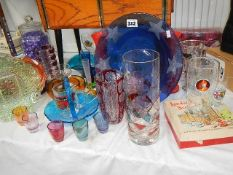 A mixed lot of coloured and other glass.