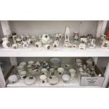 2 shelves of crested china including Goss & Shelley etc (contents of box A/F)