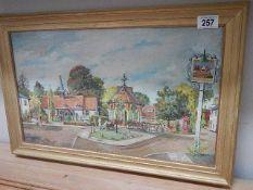 A circa 1970's oil on board village scene signed W Manual Nov. '72. 58 x 38 cm.