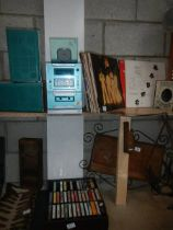 A music centre together with LP's 45's, CD's and cassette tapes.