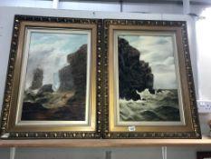 2 x early 20c oil on canvas coastal cliff scene,