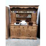 A good large Victorian pine dresser, 157 cm wide, 43 cm deep and 190cm high.