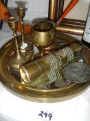 A mixed lot of brass ware including mirror.