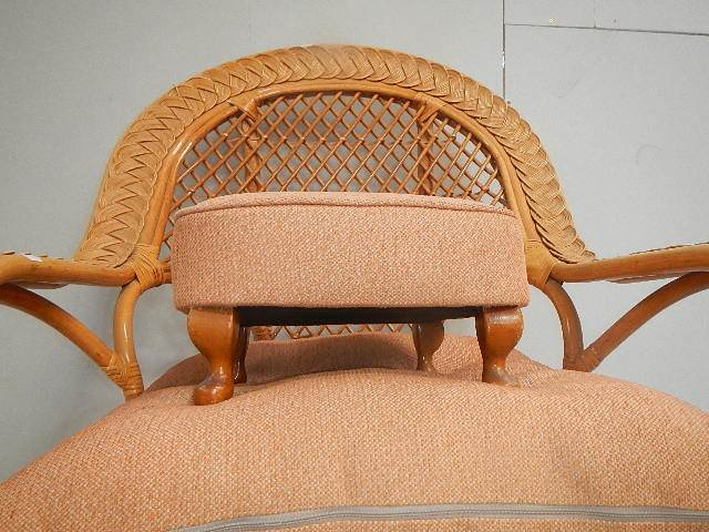 A conservatory chair and stool. - Image 3 of 3