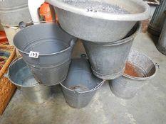 A quantity of galvanised buckets etc.