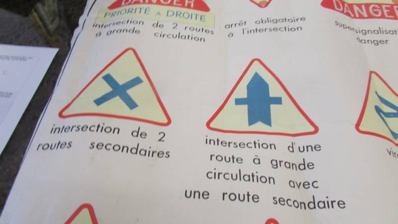 """A mid century French double sided class room poster """"Signeaux de Danger"""". - Image 5 of 7"""