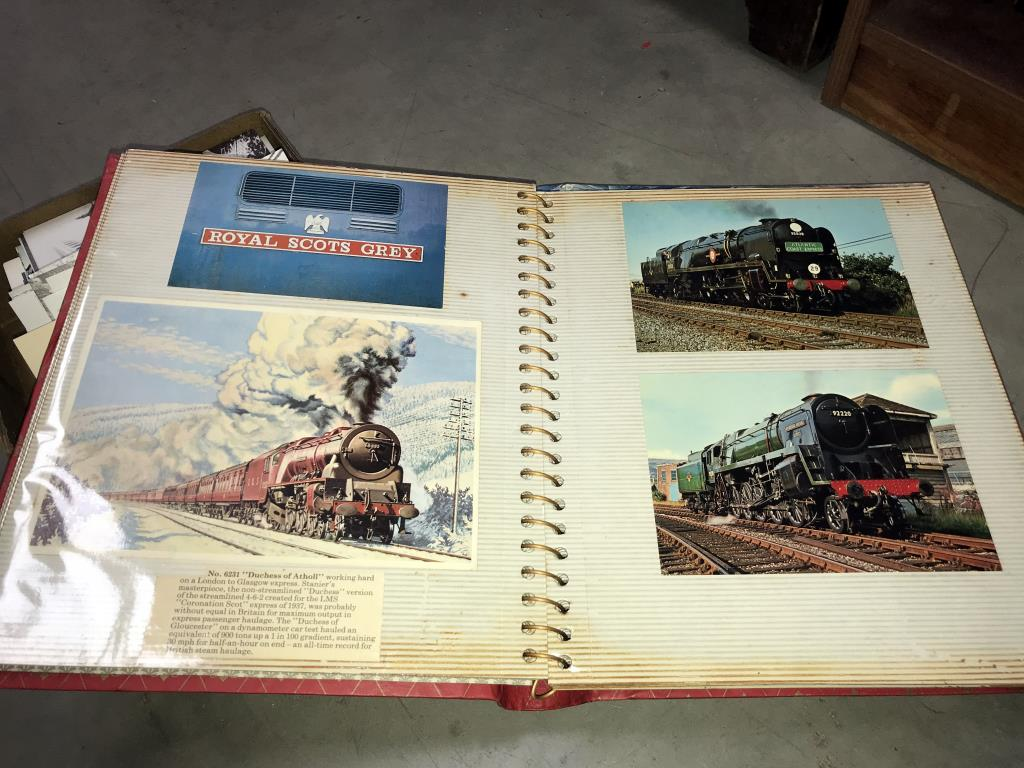2 albums and a box of loose postcards, mostly trains, - Image 7 of 7