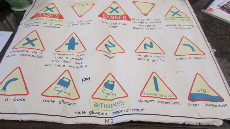 """A mid century French double sided class room poster """"Signeaux de Danger""""."""