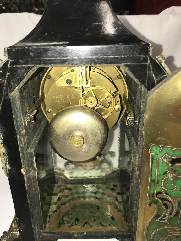 A Victorian Beulle mantel clock in good working order and in good condition with no lifting of - Image 16 of 18