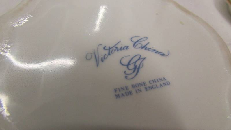 3 pieces of hand painted Victorian china - Ginger jar and 2 trinket pots all signed B Wallace '82. - Image 6 of 6