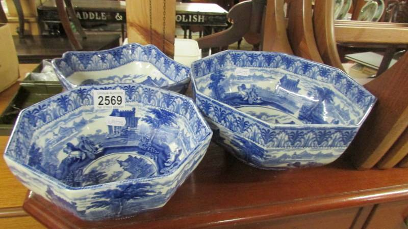 Three Cauldon blue and white bowls.