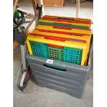 A folding trolley basket,