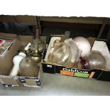 2 boxes of glass lamp shades and oil lamp parts