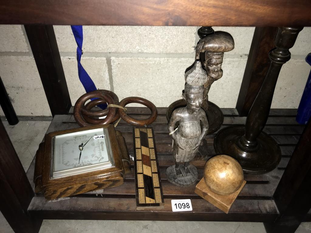 2 carved wooden figures, 1930's turned candlesticks with brass sconces, barometer etc.