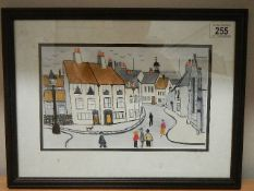 A mid 20th century unsigned Lowry style print. 42 x 32 cm.
