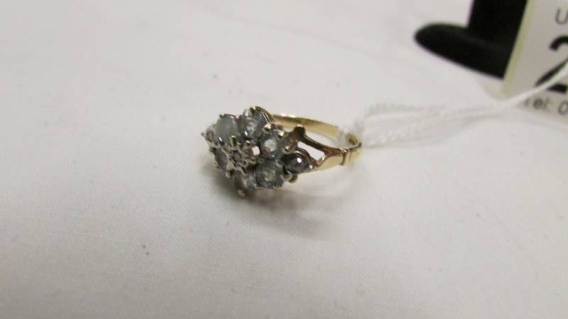 A topaz and diamond yellow gold ring, size J. - Image 2 of 2