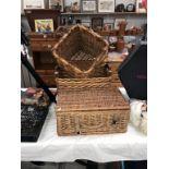 3 wicker baskets includes a picnic hamper
