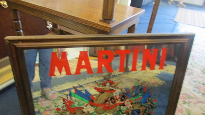 A large Martini advertising mirror mounted in a stained wooden frame, circa 1970s. - Image 3 of 3