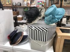 A quantity of ladies hats and 2 hatboxes a/f (heads not included)