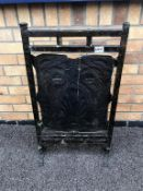 A 19th century Arts & Crafts copper firescreen, punched and engraved with stylised flowers.