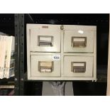 A vintage 4 drawer index filing cabinet with brass handles