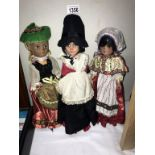 A collection of 3 traditionally dressed doll's bought at Redgates toy shop Sheffield,