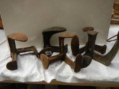 Six old shoe lasts.