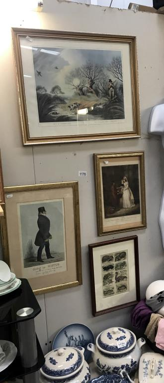 3 framed engravings including cries of London and 1 print