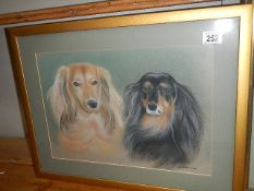 A framed and glazed pastel study of dogs by J White 2002. 58 x 45 cm.