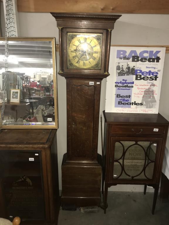An oak cased 8 day long case clock with brass dial. - Image 11 of 11