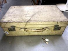 A vintage pigskin suitcase