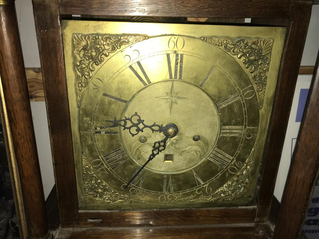An oak cased 8 day long case clock with brass dial. - Image 7 of 11