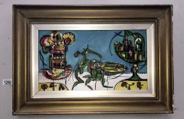 Follower of Graham Sutherland acrylic on board, abstract with insects in a landscape,