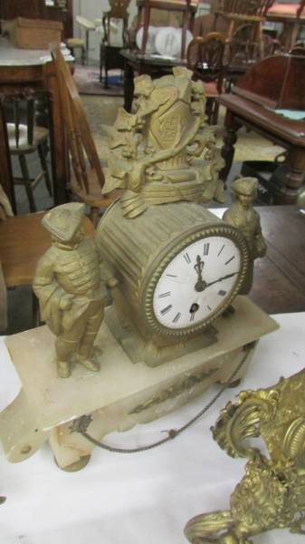 An interesting collection of clocks and clock parts including an art deco marble clock, - Image 4 of 8