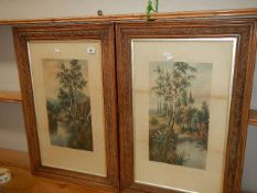 A pair of framed and glazed print entitled 'Kingfisher Home' and 'The Hunt of the Swallows'.