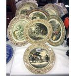 7 vintage Adams collectable/cabinet plates