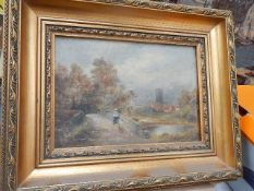 A gilt framed rural scene oil on canvas.
