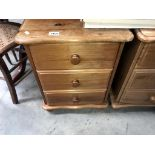 A solid pine 3 drawer bedside chest, 46 x 39 x 61 cm tall.