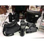 3 pairs of binoculars, Charles Frank 10 x 50 cased,