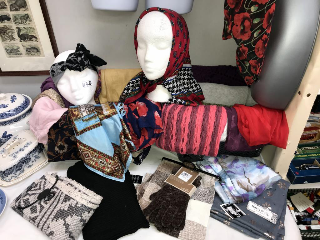 A good lot of scarves including head scarves, some new items and 2 torso wall art figures. - Image 3 of 3