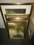 6 x gilt framed prints in various sizes & subjects & oil on canvas of wooded area