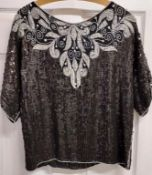 Frank Usher sequined black and silver evening top - Size large)